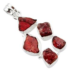 24.62cts natural red garnet rough 925 sterling silver pendant jewelry r41002