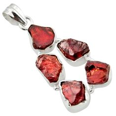 23.48cts natural red garnet rough 925 sterling silver pendant jewelry r41007