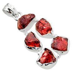 23.48cts natural red garnet rough 925 sterling silver pendant jewelry r41013