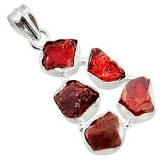 24.08cts natural red garnet rough 925 sterling silver pendant jewelry r41017
