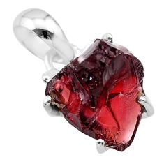 11.05cts natural red garnet raw 925 sterling silver pendant jewelry t31163