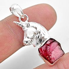 5.82cts natural red garnet rough 925 sterling silver unicorn pendant t30922