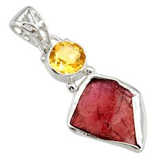10.76cts natural red garnet rough citrine 925 sterling silver pendant r29762