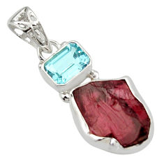 12.52cts natural red garnet rough topaz 925 sterling silver pendant r29763