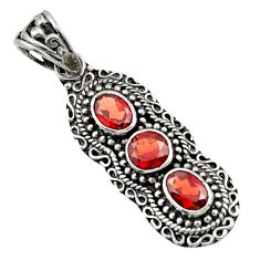 4.21cts natural red garnet round 925 sterling silver pendant jewelry d44809