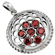 Natural red garnet round shape 925 sterling silver pendant jewelry c26060