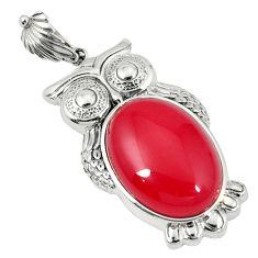 Natural red onyx oval 925 sterling silver owl pendant jewelry c22578
