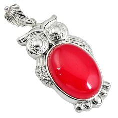 Natural red onyx oval shape 925 sterling silver owl pendant jewelry c22574