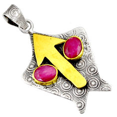 Clearance Sale- 4.38cts natural red ruby 925 sterling silver 14k gold pendant jewelry d39127
