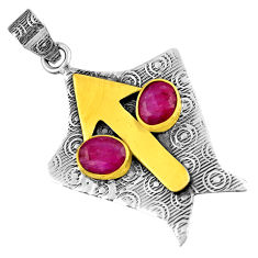 Clearance Sale- 4.22cts natural red ruby 925 sterling silver 14k gold pendant jewelry d39144