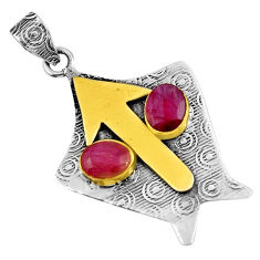 red ruby 925 sterling silver 14k gold pendant jewelry d39145