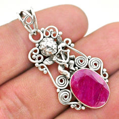 5.87cts natural red ruby 925 sterling silver angel pendant jewelry t40784