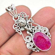 6.10cts natural red ruby 925 sterling silver angel pendant jewelry t40801