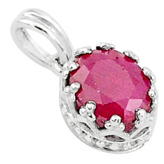 2.43cts natural red ruby 925 sterling silver crown pendant jewelry t5102