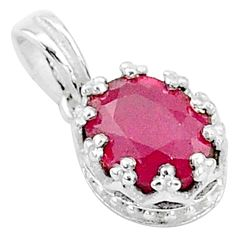 2.43cts natural red ruby 925 sterling silver crown pendant jewelry t5105
