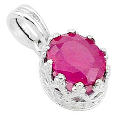 2.46cts natural red ruby 925 sterling silver crown pendant jewelry t5112
