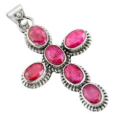 9.85cts natural red ruby 925 sterling silver holy cross pendant jewelry r20789