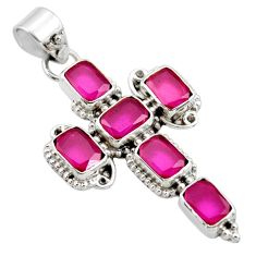 9.39cts natural red ruby 925 sterling silver holy cross pendant jewelry r35076