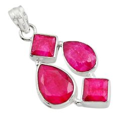 Clearance Sale- 19.27cts natural red ruby 925 sterling silver pendant jewelry d43718