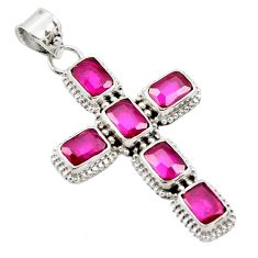 9.07cts natural red ruby 925 sterling silver pendant jewelry r35037
