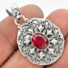 3.37cts natural red ruby 925 sterling silver pendant jewelry t42974