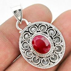 2.98cts natural red ruby 925 sterling silver pendant jewelry t42975