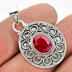3.07cts natural red ruby 925 sterling silver handmade pendant jewelry t42977