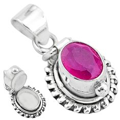 2.01cts natural red ruby 925 sterling silver poison box pendant jewelry t3761