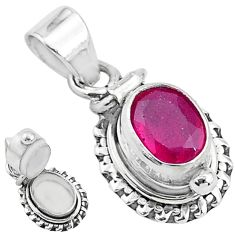 1.93cts natural red ruby 925 sterling silver poison box pendant jewelry t3764