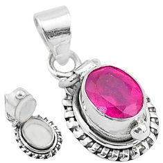 1.92cts natural red ruby 925 sterling silver poison box pendant jewelry t3770