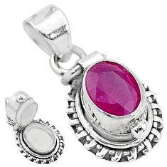 1.91cts natural red ruby 925 sterling silver poison box pendant jewelry t3771