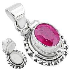 1.97cts natural red ruby 925 sterling silver poison box pendant jewelry t3773