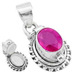 2.02cts natural red ruby 925 sterling silver poison box pendant jewelry t3777