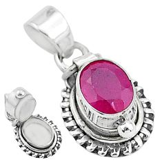 1.94cts natural red ruby 925 sterling silver poison box pendant jewelry t3779