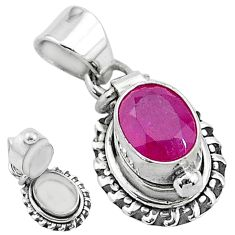 2.02cts natural red ruby 925 sterling silver poison box pendant jewelry t3780
