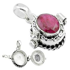 3.23cts natural red ruby 925 sterling silver poison box pendant jewelry t52554