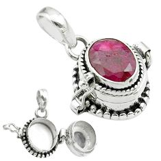 3.27cts natural red ruby 925 sterling silver poison box pendant jewelry t52558