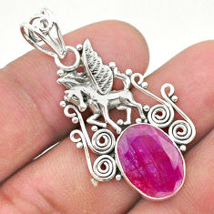 5.87cts natural red ruby 925 sterling silver unicorn pendant jewelry t40781