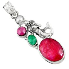 Clearance Sale- 14.04cts natural red ruby emerald pearl 925 silver fairy mermaid pendant d43682