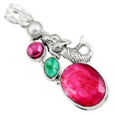14.40cts natural red ruby emerald pearl 925 silver fairy mermaid pendant d43688