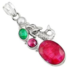 14.45cts natural red ruby emerald pearl 925 silver fairy mermaid pendant d43690