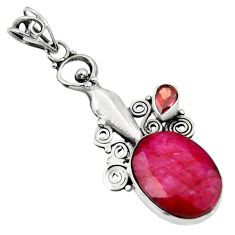 Clearance Sale- 14.72cts natural red ruby garnet 925 sterling silver dolphin pendant d39342