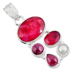 10.69cts natural red ruby garnet 925 sterling silver pendant jewelry d39345