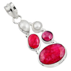 Clearance Sale- 10.25cts natural red ruby garnet 925 sterling silver pendant jewelry d39349