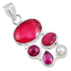 Clearance Sale- 11.00cts natural red ruby garnet 925 sterling silver pendant jewelry d39352