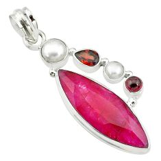 17.42cts natural red ruby garnet 925 sterling silver pendant jewelry t10690