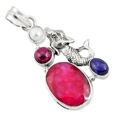 Clearance Sale- 14.45cts natural red ruby lapis lazuli 925 silver fairy mermaid pendant d43685