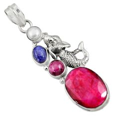 14.42cts natural red ruby lapis lazuli 925 silver fairy mermaid pendant d43694