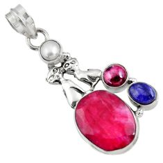 Clearance Sale- 12.37cts natural red ruby lapis lazuli pearl 925 silver two cats pendant d43699