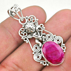 5.87cts natural red ruby oval 925 sterling silver angel pendant jewelry t40776